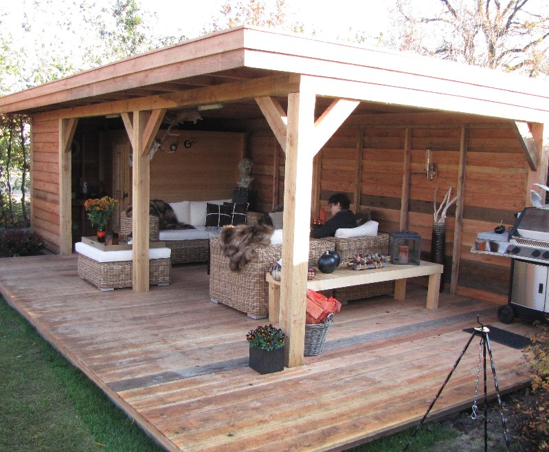 houten overkapping q style On afmeting zwembad in tuin